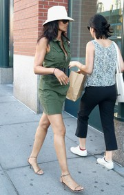 Padma Lakshmi put on a pair of animal-print sandals for a day out in New York City.