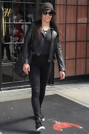 Paula Patton rocked a classic leather jacket while out in NYC.