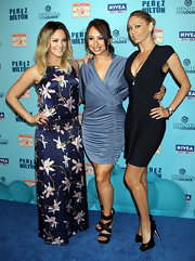Cheryl Burke donned black platform sandals with crisscrossing straps to the Perez Hilton Blue Ball birthday celebration.