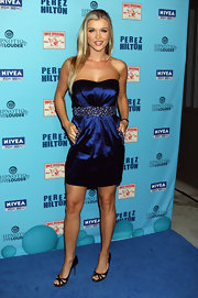 Joanna shines in an iridescent strapless dress for Perez Hilton's Blue Ball Birthday celebration.