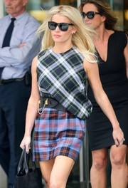 Jessica Simpson wore classic black wayfarers for a day out in New York City.