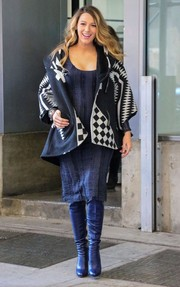 Blake Lively spiced up her dark outfit with a Lindsey Thornburg geometric-print coat for a day out in NYC.