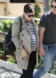Ginnifer Goodwin accessorized with a classic black backpack for a day out in Beverly Hills.