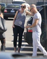 Gwen Stefani kept it casual and cool in a black-and-white striped tank top while out and about in LA.