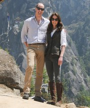 Kate Middleton gave us Indiana Jones vibes with this Really Wild nubuck vest teamed with a white shirt and a pair of jeans during her hiking trip in Bhutan.
