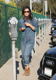 Rachel Bilson looked comfy and fun in a denim jumpsuit while out shopping in Beverly Hills.