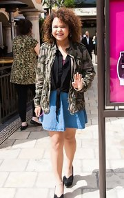 Rachel Crow chose an army-print utility jacket to add some edge to her black blouse and denim skirt while out in LA.