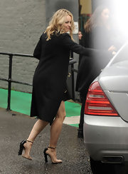 Rachel McAdams accessorized her winter ensemble with nude pumps complete with embellished detailing.