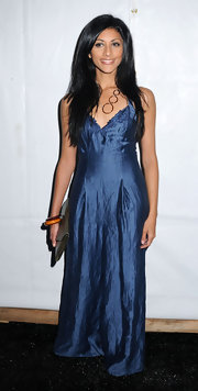 Reshma Shetty shimmered in a blue maxi dress at the S/S 2010 Tracy Reese fashion show.