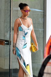 Rihanna accessorized with ultra-modern shield sunglasses while out and about in New York City.