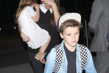 Romeo Beckham Harper Beckham Victoria Beckham and Her Kids at LAX