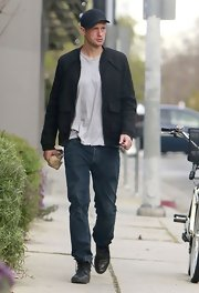 Alexander Skarsgard opted for classic fit jeans to complete his casual daytime look.