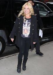Sabrina Bryan chose a classic pea coat with double-breasted silver buttons to wear while heading to 'Good Morning America.'