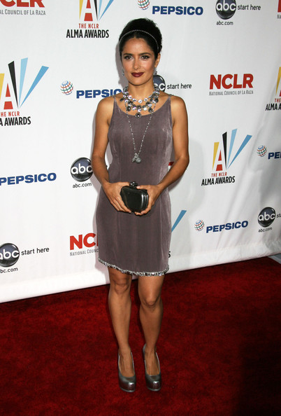 Salma Hayek Metallic Clutch