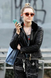 Saoirse Ronan looked hip in her coral cateye sunnies while out on a stroll in New York City.