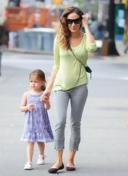 Sarah Jessica Parker's casual daytime look consisted of a lime green long-sleeve tee and capri pants.