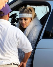 Khloe Kardashian was hippie-glam during Scott Disick's birthday dinner wearing the Fallon Jewelry Monach bandana as a headband.