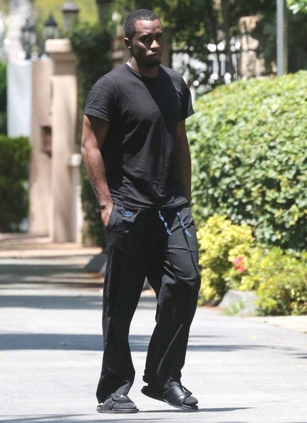 Sean Combs kept a low profile in black sweatpants and a simple tee while out and about in Toluca Lake.