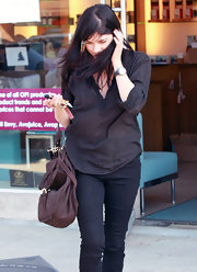 Selma Blair stayed comfortable at the nail salon in a sheer gauze tunic top.