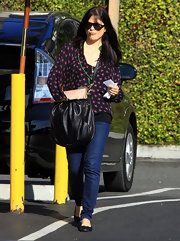 Selma Blair sweetened her street style with a darling black and pink print blouse.