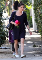 Selma Blair went for a laidback look with a pair of summer-ready espadrilles.