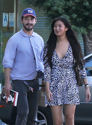 Shia LaBeouf looked neat in a blue button-down and jeans while shopping with his girlfriend.