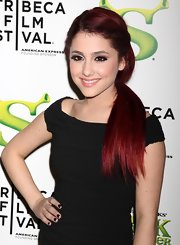 "Ariana showed off her fiery red hair at the ""Shrek Forever After"" premiere. Her hair color is a great shade for the fair actress."