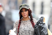 "Nicole ""Snooki"" Polizzi Keeps Covered in a Leopard Tunic"