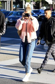 Sofia Richie looked cozy in a fuzzy pink track jacket while out in Beverly Hills.