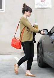 Sophia Bush opted for a bright red shoulder bag for her daytime look while out in Hollywood.