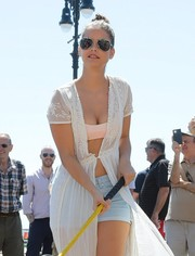 Barbara Palvin geared up with a pair of aviators for a day at the beach.