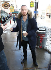 Aaron Paul kept warm at Sundance in a fur-trim parka.