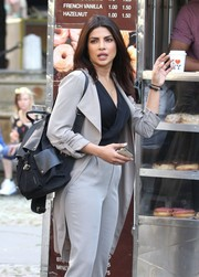 Priyanka Chopra carried a classic black backpack while filming scenes on the set of 'Quantico.'