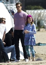 Andrew Rannells opted for a casual but classic crewneck sweater while filming a scene from 'The New Normal.'