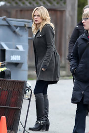 Britt Robertson rocked a pair of studded black boots on the set of 'The Secret Circle.'