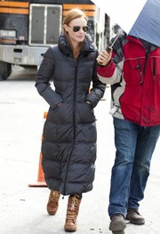 Kate Bosworth bundled up in a gray puffer coat while filming 'Still Alice.'