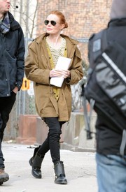 Kate Bosworth was spotted on the set of 'Still Alice' dressed down in a baggy tan utility jacket.