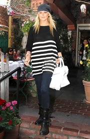 Stephanie was spotted leaving in the Ivy in a striped blouse.