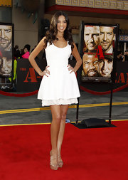 TV personality Terri Seymour showed off her little white dress while hitting the 'A Team' premiere.