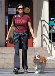 Teri Hatcher took her dog to the vet in a Love graphic T-shirt and yoga pants.