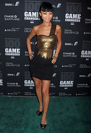 Bai Ling channeled a warrior princess in a black cocktail dress armored with gold beading at the 2011 Game Changers Awards.