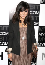 Vanessa wears a double breasted blazer with print cuffs over her shining maxi dress for the Myhabit.com launch.