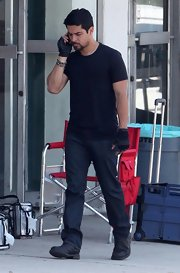 Wilmer Valderrama was seen on the set of 'Larry Crowne' wearing a pair of casual boots.