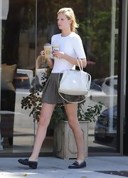 Toni Garrn ran her errands along West Hollywood while casually toting a pristine white leather bag.