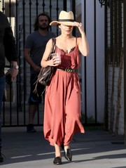 Vanessa Hudgens looked summer-ready in a rose-colored spaghetti-strap jumpsuit by Silence + Noise while out in Studio City.