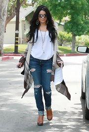 Vanessa Hudgens showed off one of the growing shoe trends while leaving a friends house in Woodland Hills.