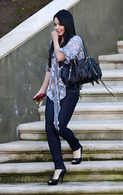 "Vanessa Hudgens is seen here leaving here home carrying the ""Botkier Morgan Satchel"". The ""High School Musical"" star is certainly a fan of all things fringe and this bag is no exception."