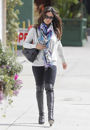 Vanessa topped off her look with over-the-knee leather boots.
