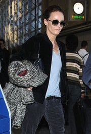 Vanessa Paradis kept her eyes hidden behind a pair of retro sunglasses while making her way through LAX.