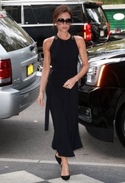 Victoria Beckham looked elegant on the streets of New York City in a sleeveless LBD from her own line.